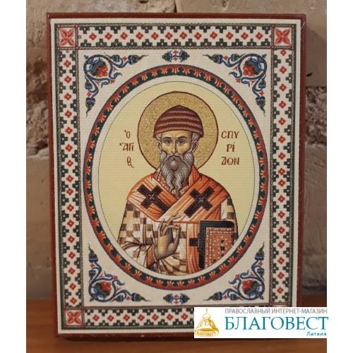 Иконка на дереве, освящена в монастыре Метеоры. Греция. 8,2 х 10,5 см.