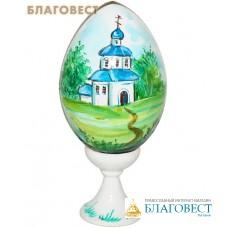 """Яйцо деревянное с ручной росписью """"Церквушка"""""""