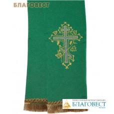 Закладка для Евангелия, зеленая из габардина, вышивка в ассортименте, 150 см