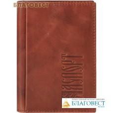 Обложка для паспорта с молитвой. Кожа, цвет коричневый