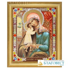 """Икона Божией Матери """"Взыскание погибших"""" в багете со стразами"""