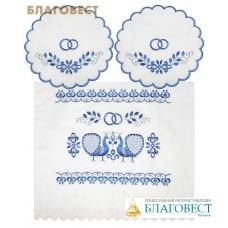 """Венчальный набор """"Павлин синий"""" (рушник, две салфетки). Состав 100% лен, размер 155*45см"""