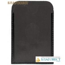 Обложка для социальной, транспортной, кредитной карты с тиснением молитвы кресту, черный. Кожа