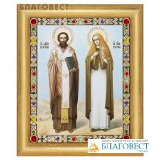 """Икона """"Священномученик Киприан и мученица Иустина"""" в багете, цвет страз в ассортименте"""