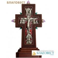 Крест гальванический на подставке малый с украшением, натуральные камни, эмаль