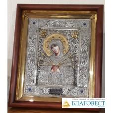 """Икона Пресвятой Богородицы, им. """"Семистрельная . 28,5 x 34,5 см."""