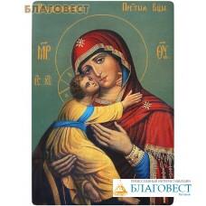"""Икона Божией Матери """"Владимирская"""". Полиграфия, дерево, лак"""