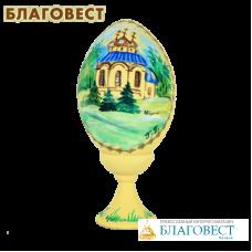 """Яйцо деревянное с ручной росписью """"Храм"""""""