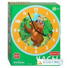 """Сборная пазл-игрушка Часы """"Маша и медведь"""". С часовым механизмом"""