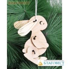 """Рождественская игрушка-подвеска для раскрашивания """"Заяц"""" из 7-ми деталей"""