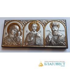 Икона Триптих, автомобильная, серебрение. Греция. 10 х 4,5 см