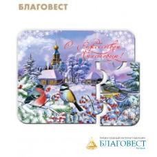 """Рождественский сувенир магнит-пазл """"Снегирь и синицы"""""""