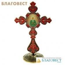 """Крест на подставке с иконой """"Блаженная Ксения Петербургская"""""""