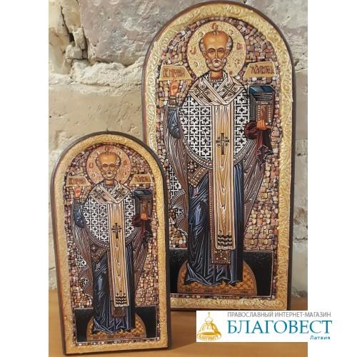 Икона Святителя Николая Чудотворца,  8.5 х 17 см, Бари.