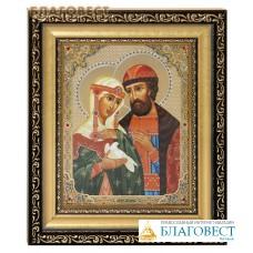 Икона святые благоверные Петр и Феврония. Киот (узкий), багет, стразы, стекло