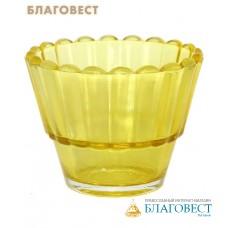Лампада рифленая, желтая, стекло