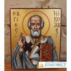 Икона Святителя Николая Чудотворца, на дереве, 8 х 11 см, Бари.