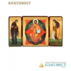 """Складень тройной """"Богородица, Спас в силах, Св.Иоанн Предтеча"""" на деревянной основе"""