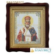 Икона в резном киоте святитель Николай Чудотворец