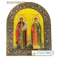 Икона на подставке Покровители семьи святые Петр и Феврония