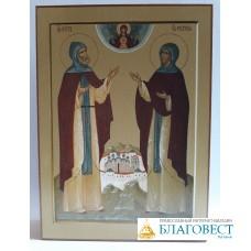 Икона свв. блгв. кн. Петра и Февронии, дерево. 9 х 12,5 см