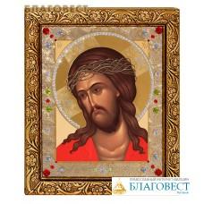 """Икона """"Иисус Христос в терновом венце"""" в багете со стразами"""