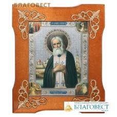 Икона в деревянной рамке Св. прп. Серафим Саровский