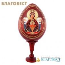 """Сувенир Яйцо на подставке икона Пресвятой Богородицы """"Неупиваемая чаша"""""""