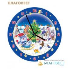 """Пазл-часы """"Новогодние забавы"""" с часовым механизмом"""