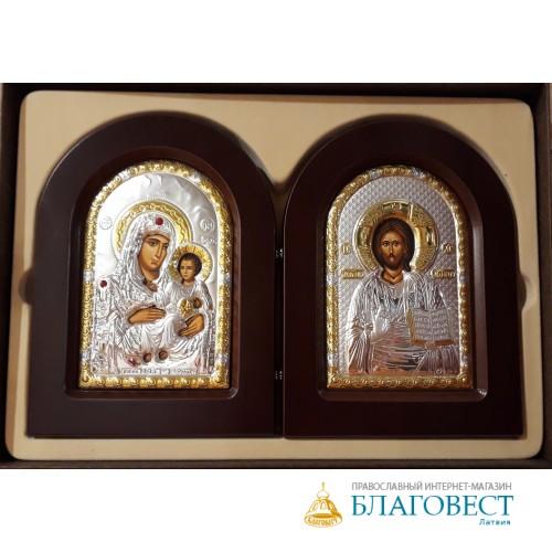 Складень Спаситель - Богородица, им. Казанская, в подарочной коробке, двойной, 10х14 см. Греция