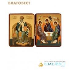 """Складень двойной """"свт.Спиридон Тримифунтсткий, св.Троица"""" на деревянной основе"""