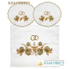 """Венчальный набор """"Роза золотая"""" (рушник, две салфетки). Состав 100% лен, размер 155*45см"""
