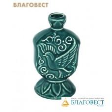 Подсвечник Голубь (зеленый, керамический)