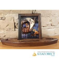 Подарочная лодочка с иконой Свт. Николая, дерево, Бари.