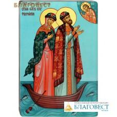 Икона Святые благоверные Петр и Феврония Муромские в лодке. Полиграфия, дерево, лак
