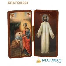 """Складень двойной """"Целительница, Воскресший Господь"""" на деревянной основе"""