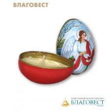 Свеча пасхальная ХВ с ангелом в жестяной баночке (в виде яйца)