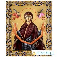 Икона аналойная малая Покров Пресвятой Богородицы. Дерево, ручное золочение (поталь)