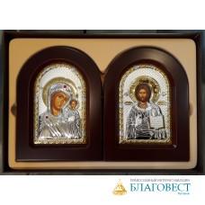 Складень Спаситель - Богородица, им. Иерусалимская, в подарочной коробке, двойной, 10х14 см. Греция