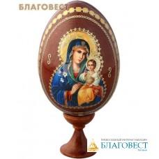"""Сувенир Яйцо Пресвятая Богородица """"Неувядаемый цвет"""" на подставке"""
