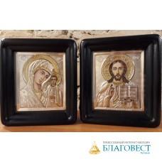 """Венчальная пара: Спаситель и Пресвятая Богородица, им. """"Казанская"""" , в киоте."""