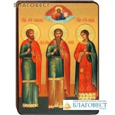 """Икона """"Святые мученики и исповедники Гурий, Самон и Авив"""" на деревянной основе"""