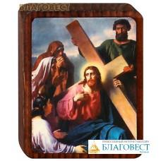 """Икона """"Несение креста"""" на деревянной основе"""