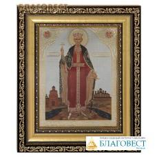 Икона св. равноапостольный князь Владимир. Киот (узкий), багет, стекло